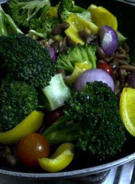 Ingredients for Warm Salad of Barley, Beans and Vegetables in Garlicky Dressing